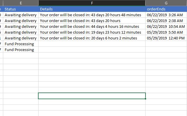 Order details in CSV