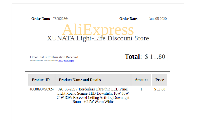 AliExpress Helper Invoice Example